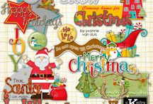 Holly Jollies Digital Scrapbooking Collection by Kathryn Estry / Scrap your Christmas photos with this cute collection, complete with a village and Santa train.