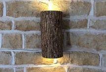 iluminaria hecha con tronco
