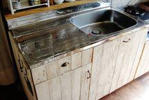 賃貸キッチンDIY / 賃貸のキッチンをおしゃれに簡単に改装!