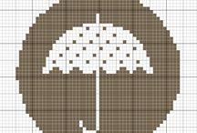 punto croce ombrelli