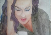 sirin seren (şirin şeren) artist, painter / watercolor cup coffee woman painting