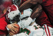 Football Artwork / Paintings Drawings and artworks of NFL and NCAA players