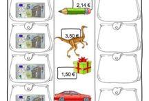 Fichas de monedas y billetes