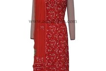Faux Georgette Chikan Suit Lengths /  #Lucknow #Chikankari Embroidery Apparels from Ada Chikan, Handcrafted suit pieces.