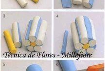 pâte fimo rouleau de fleur