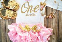 Anna's 1st bday, pink & gold