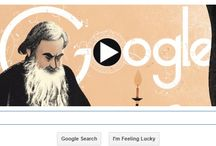 Google Doodle Celebrate Anna Karenina Author's Birthday / Tolstoy was born on nine September  1828 and died from respiratory illness at Astapovo railway stationaged eighty two in 1910.  Google Doodle celebrate Tolstoy birthday with slideshow doodle, doodle begins with Tolstoy writing at his desk by candlelight. Google doodle presenting the works of tolstoy, including War and Peace, Anna Karenina and The Death of Ivan Ilyich.