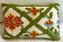 Crewel Pillows and sachets