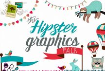 The Hipster Graphics Pack / We have teamed up with the incredibly talented Marina of Marish Design to bring you this incredible 'Hipster' bundle. The pack includes 24 awesome collections for you to sink your teeth into