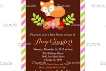 Pink Fall Fox Baby Shower / This collection features a cute sleeping fox in a wreath of flowers. The background consists of a solid dark brown with orange, pink and green stripes pattern.