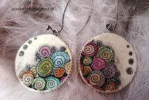 handpainted jewelry 2 / tiny art, DIY, hand painted earrings, Jewelry, zentangle, paper painted jewel and ornament....