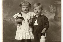 Antique photos of children with toys