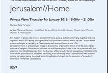 'Jerusalem//Home' /  'Jerusalem//Home'  Private View: Thursday 7th January 2016, 18:00hr – 21:00hr.  P21 Gallery is pleased to present Jerusalem//Home, a group exhibition bringing together the photographic works of 4 young photographers from Jerusalem, ceramic works by two London-based artists, and digital artworks by a Palestinian American artist based in the USA.  RSVP: https://podio.com/webforms/14539690/974561.  P21 Gallery, 21 Chalton Street, London NW1 1JD.