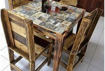 Pallet dining table n chairs