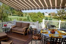 """Retractable Awnings / Retractable residential deck awnings transform outdoors spaces into brand new """"rooms"""" that offer ultimate three-season flexibility and maximum versatility for relaxing and entertaining. Your awning will be there whenever you need it and neatly tucked away when you don't!"""
