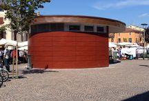 Rivestimenti / facciate ventilate / realizzazione chiavi in mano rivestimento box sala controllo ed ascensore parcheggio Piazza Corrubbio a Verona