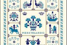 "Delft Blue Tiles Sampler 2015 / Delft blue Tiles Sampler is filled with old Dutch sampler motifs from the Dutch Sampler association ""Merkwaardig""  http://www.merklap.nl/merkwaardig-motief-per-maand"
