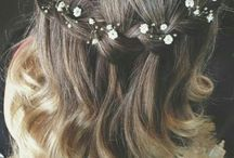 wedding hair and dress