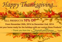 26th November to 02nd December  2014 10% Off on all product / Get your home ready for the holidays with our custom brass products only @ signaturethings.com / by SignatureThings.com