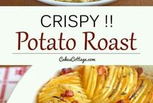 crispy potato sliced together bake with bacon and fresh thyme