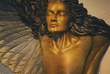 Arch Angel / 7 feet tall, travertine marble. Half Man, half Angel.