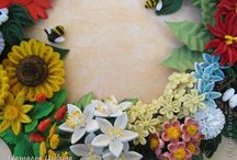 Quilling wreath of flowers
