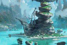 scenery art / landscape painted in pixels