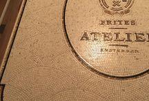 Frites Atelier Amsterdam / Gatto Mosaicisti mag de mozaieken vloeren realiseren voor de vestigingen van Frites Atelier. Tot nu toe in Den Haag, Utrecht, Arnhem en Antwerpen. Zie www.gatto.nl voor meer info.