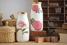Painted decoupage bottles