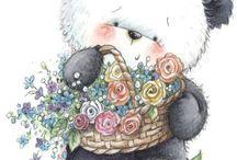 Mesevilág: Panda és Koala macik (Dreamland: Panda and koala bear) / clip-art