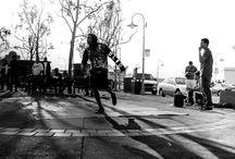B-boy Shadow SF / Breakdance battle on Embarcadero, San Francisco, CA 2014. Backlit & BW.
