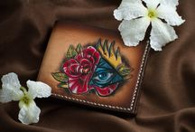 Leather carving, aerography / leather wallet handmade vegetable classics carving purse card case gift