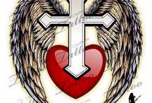 agel cross tattoo