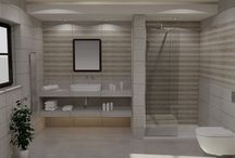 collezione CENTRAL / Πρόταση μπάνιου με πλακάκια από την collection Central σε γήινες αποχρώσεις.  από την ebath creation services