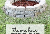 Fire Pit!  How fun! / The fire pit.  On Thanksgiving many years ago, WOR channel 9 in NYC used to broadcast a fireplace burning instead of programming.  It made me sad.  I felt bad for all the people who didn't have a fireplace.  Our big drafty pre-war apartment had a marble fireplace.  I think I would have died of Winter in NY if I hadn't been able to take a long soak in our huge, deep bathtub and that fireplace.  A crackling fire under the stars on a cool night is too wonderful for words.