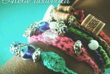 pulseiras , colares e brincos croche