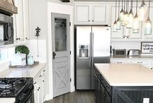 Farmhouse Style Kitchens / Farmhouse style designs complete with rustic neutrals, wood planking and apron front sinks!