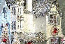 Christmas Village, Putz & Mica Houses / Christmas,Christmas villages, Putz houses,Glitter houses