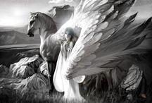 "Winged Horses Like Pegasus / ""Wingabeasts,"" the winged horses of Elderland, feature heavily in DawnSinger, WayFarer, and DawnKing, my epic fantasy series entitled Tales of Faeraven."