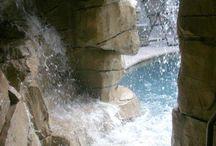 Faux rock waterfalls