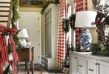 C&B Country Decorating Style / Picture pine or painted antiques, quilts, baskets and folk art. Country decorating can be either simple Americana (often red, white and blue) or more  decorative French country. Colors used in country decorating typically include barn red, mustard  yellow, black, dark green, buttermilk or rust.  Ladder-back or Windsor chairs, pie safes, tin ware and plaids and checks further depict Country  decorating.