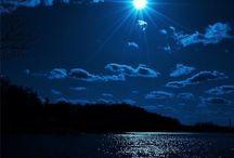 Gökyüzü-Gece-Ay-Gün Batımı