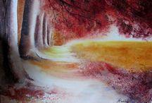 Mes aquarelles / Allée d'automne