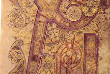 Book of Kells Trinity College Dublin Ireland / Four gospels illuminated by the Columban monasteries 800 A.D.