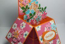 Card in a Box / Leuke cadeau doosjes die helemaal dichtgeklapt kunnen worden om te verzenden. Er is ruimte voor een cadeau kaartje of geld.