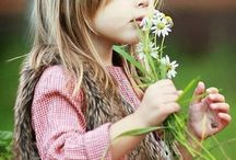 little girls and flowers