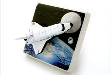 Space Themed Bedroom Ideas & Space Shuttle Light Switches / Ideas For Decorating a Boys or Girls Space Themed Bedroom. Wallpaper, Space Rockets & Shuttles, Spaceman Bedding, Light Switches, Door Plaques, Wall Stickers, Lampshades. All Things Space Inspired.