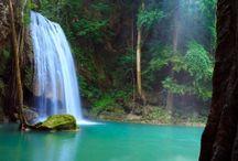 Beautiful Water fall.  / Beautiful water fall, with illuminating greens.