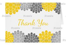 Yellow and Gray Dahlia Flowers Bridal Shower / This collection features pretty dahlia blossom flowers in yellow and gray.