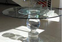 Perspex / Perspex with crystal chandelier